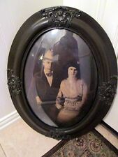 "Large Antique Wood  Bubble Glase Frame w/Couple 25"" x 19"""