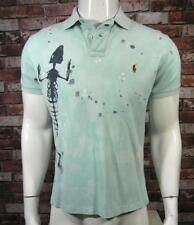Ralph Lauren Aqua Blue Custom Fit Polo Shirt Bones Skeleton Graphic size Med