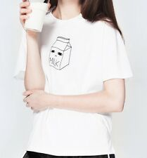 Milk T-shirt Cartoon Korean Top Japan Kana Kawaii UK 8 -10 Harajuku