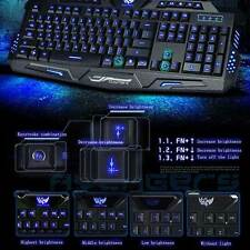 Multimedia Illuminated USB Wired LED Backlight Gaming Keyboard Ergonomic Backlit