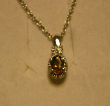 """Andalusite & Sparkling White Topaz Pendant Necklace 20""""  14 gems .65tcw MSRP $37"""