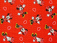 """21"""" REMNANT DISNEY MINNIE MOUSE HEART & POLKA DOTS SPRING CREATIVE COTTON FABRIC"""