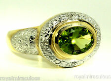 Genuine Peridot & Diamond Ring Sterling Silver or Yellow Gold Plated Silver