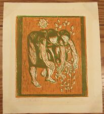 Signed linocut print women picking flowers Romanian? orange/green modernist