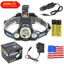 13000lm Headlamp Genuine Boruit RJ3000 Upgraded 3xXM-L T6 LED Head Torch 2x18650