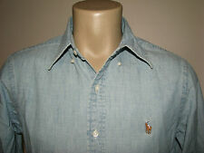$125. (XS) POLO-RALPH LAUREN Blue Chambray/ Denim PONY Shirt