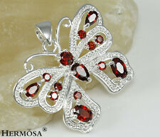 CHARM BUTTERFLY FIRE GARNET TOPAZ GEMS RED SAPPHIRE 925 SILVER NECKLACE PENDANT