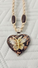 Glass Heart Butterfly Pendant Hemp Necklace Lampwork Surfer Handmade Boho