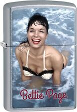 Zippo Betty Page Swimming White Top Queen Of Pinups Street Chrome Lighter 29440