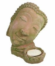 Tabletop Stone Statue Buddha Face t-light Candle Holder Home Decor US Seller