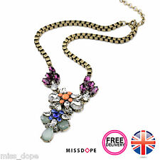 NEW Water Flower Drop Pendant Necklace Crystal Womens Ladies Vintage Gold UK P&P