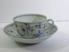1800s PORCELAIN DEMITASSE CUP & SAUCER - BLUE PANEL FLOWERS - ROYAL COPENHAGEN