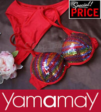 YAMAMAY PUSH UP BIKINI PAILLETTES costume mare swimwear swimsuit red tg M/3 NEW