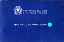 ITALIA 1987 LIBRO LIBRETTO EMISSIONE BUCA CARTE VALORI SENZA FRANCOBOLLI POSTE