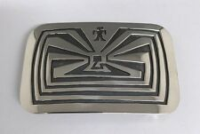 Native American Sterling Silver Hand Made Man On The Maze Design  Belt Buckle