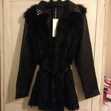 NEW JUMPO BLACK FAUX FUR AND LEATHER JACKET - 12