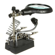 Helping Hand Clip Magnifying Soldering Iron jewelry Stans Lens LED Magnifier
