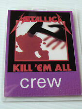 Metallica Kill 'Em All Laminated CREW Backstage Tour Pass