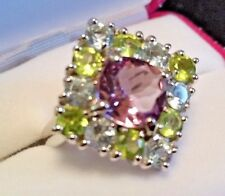 Large Pink Amethyst, Blue Topaz, Green Peridot 925 Silver Ring Size 6 Cocktail