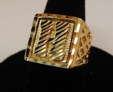 SIZE 8 MENS 14KT GOLD EP BLING LETTER H INITIAL HIP HOP RING