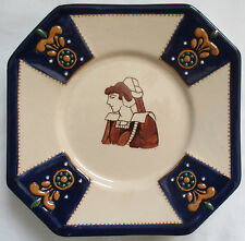HB QUIMPER OCTAGON PLATE WITH YOUNG BRETON WOMAN AND RAISED DESIGN
