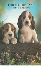 Vintage 1970's Happy Birthday Husband Greeting Card ~ Basset Hound Puppy Dogs