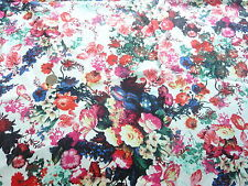 "STRETCH COTTON PRINT-BRIGHT""WATERPAINT"" FLORAL-DRESS FABRIC-FREE P&P"