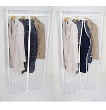 METAL FRAME CLEAR WARDROBE CLOTHES RAIL GARMENT HANGING STORAGE FREE STANDING 02