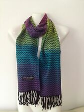 100% CASHMERE SCARF CHEVRON DESIGN RAINBOW MADE IN SCOTLAND SUPER SOFT