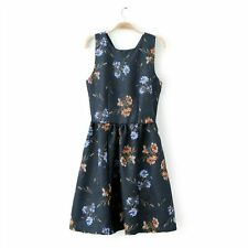 ZARA LADIES SEXY NAVY HIGH WAIST FLORAL DRESS CROSS BACK SIZE S SOLD OUT BNWT