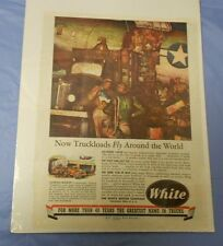 1940's WW 2 II WHITE Trucks SOLDIERS War Ad Full Page Color