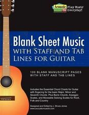 NEW Blank Sheet Music with Staff and Tab Lines for Guitar: 100 Blank Manuscript