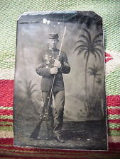 ANTIQUE TINTYPE PHOTO of CIVIL WAR Union 1st Sergeant with Rifle & 5 MEDALS