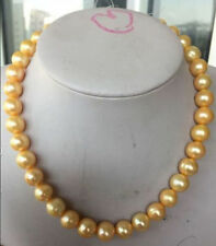 """Huge 12-14MM Australian south sea gold pearl necklace 18"""" 14k clasp"""