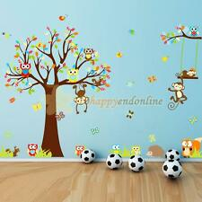 Removable Tree Owl Wall Decals Kids Bedroom Baby Nursery Stickers Art Room Decor