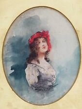 ANTIQUE ORIGINAL WATERCOLOR PORTRAIT PAINTING GYPSY WOMAN SIGNED I or L? MORRIS