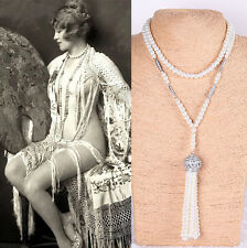 Great Gatsby 1920s Vintage Swarovski Crystal Long Pearl Necklace Bridal Wedding