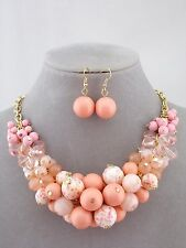 Peach Pink Round Bead Cluster Necklace Earrings Set Fashion Jewelry NEW