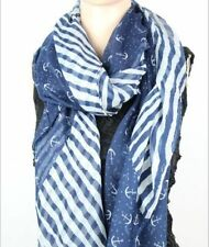 NEW Women Anchor Splice Striped Navy Blue Nautical Style Cotton Long Scarf Shawl