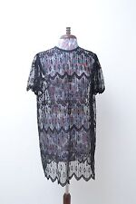 Stunning genuine vintage ladies sheer lace little black shift dress