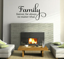 FAMILY FOREVER FOR ALWAYS WALL ART DECAL STICKER QUOTE DECOR WORDS  LETTERING