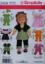 "Simplicity 2458 Sewing PATTERN fits 18"" American Girl DOLL CLOTHES w/ 7 Outfits"