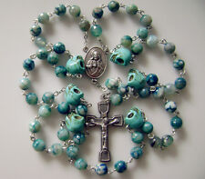 * Agate & Turquoise Skull SEVEN SORROWS ROSARY CROSS CRUCIFIX CATHOLIC NECKLACE