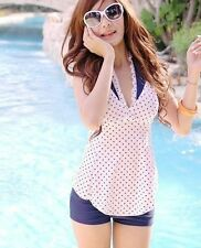 FREE SHIPPING: Dotted Ruffle Tankini & Boyleg Bikini Two-Pc Swimsuit Swimwear