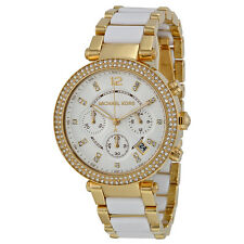 Michael Kors MK6119 Women's Parker Polished Gold & White Chronograph Watch
