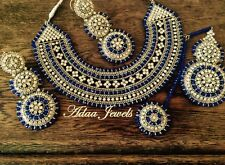 wedding jewellery set, diamonte earrings necklace tika Silver Blue Beads