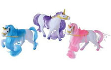 "3 Flocked Little Unicorn Ponies, 5"" w/ Saddles Perfect size for Barbie Chelsea"