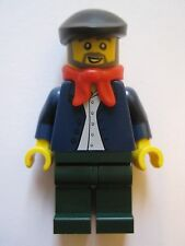 Lego Minifigure Man in Dark Blue Shirt Beret Winter Village Market Creator 10235