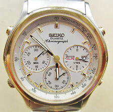 Gents Two Tone Seiko Quartz Chronograph Date Day Cal 7A38-7240 Watch