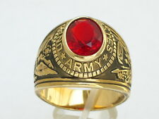12X10mm United States Army Military January Red Garnet CZ Stone Men Ring SIZE 10